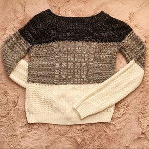 Black Gray White Knit Sweater